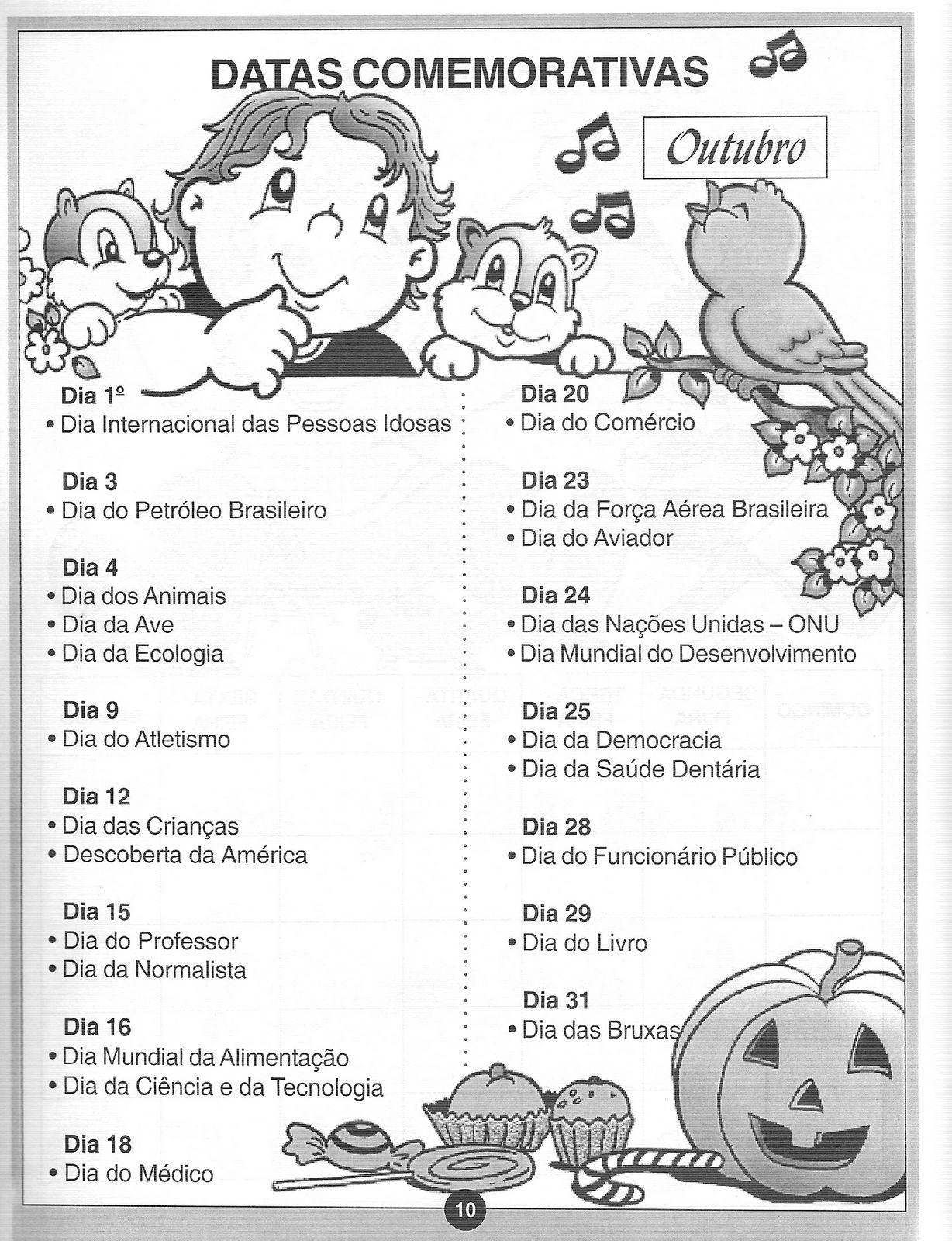 Conhecido Espaço Saber: Datas comemorativas do mês de outubro OY46