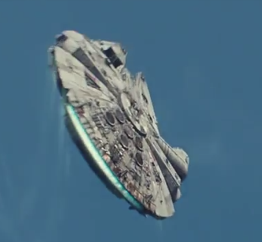 The millennium Falcon flying against a blue sky