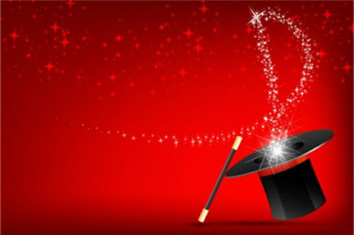 Black top hat and wand on red background