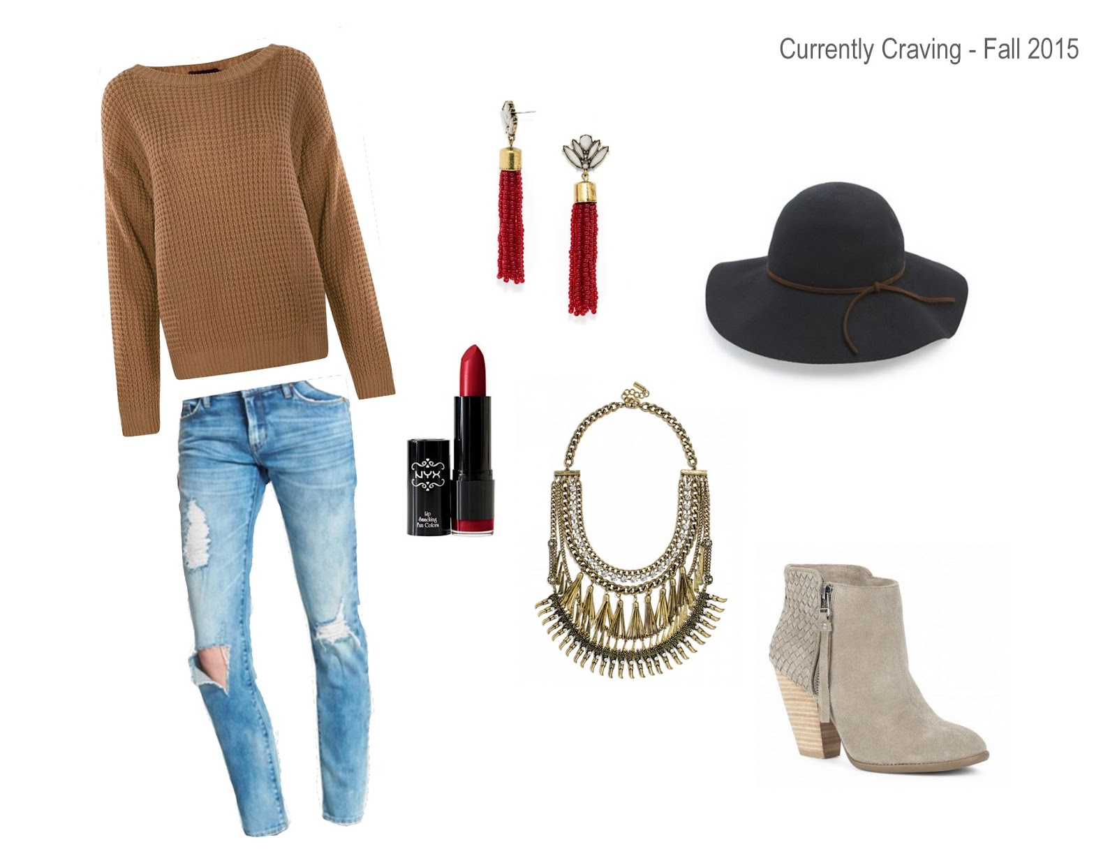 Fall Outfit, Statement Necklace, BaubleBar, Wool Hat, Distressed Jeans, Booties