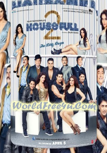 Poster Of Bollywood Film Housefull 2 (2012) In 300MB Compressed Size PC Movie Free Download At worldfree4u.com