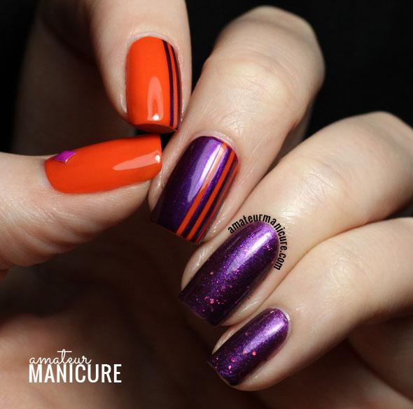 Amateur Manicure : A Nail Art Blog: Purple & Orange Sparkly Striped ...