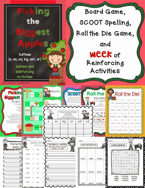 http://www.teacherspayteachers.com/Product/Picking-the-Biggest-Apples-suffix-endings-Games-Week-of-Activities-868046