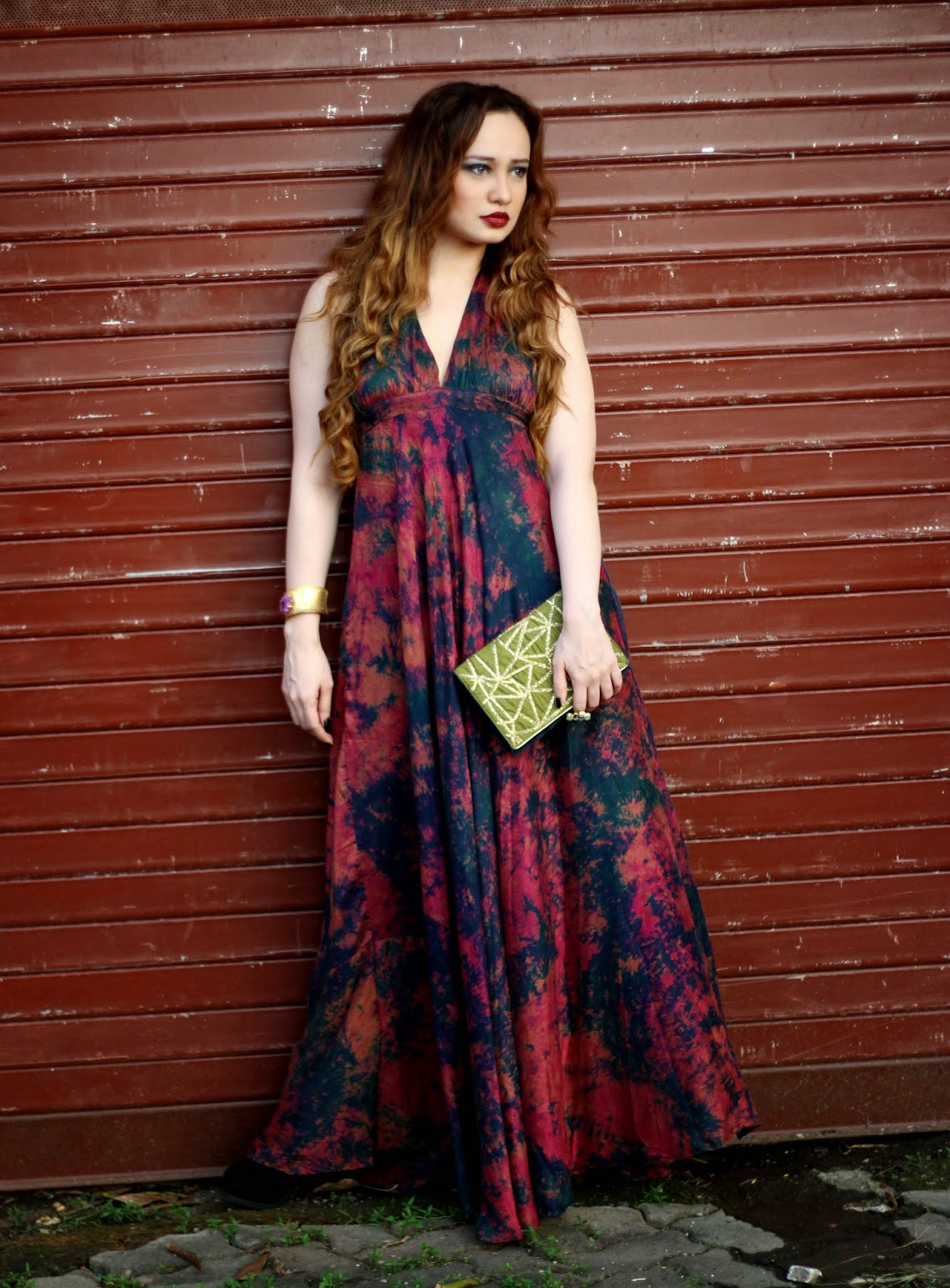 Batik Silk Maxi Dress, Bordeaux Lips, Embroidered Clutch