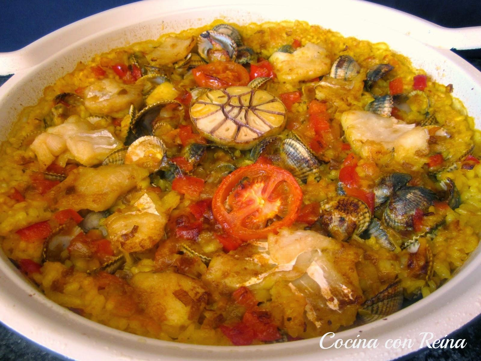 Cocina con reina arroz al horno con migas de bacalao y berberechos - Cocinar bacalao desalado ...