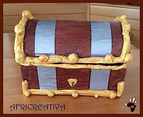 Africreativa forziere dei pirati con riciclo scatola da for Come costruire i passaggi della scatola