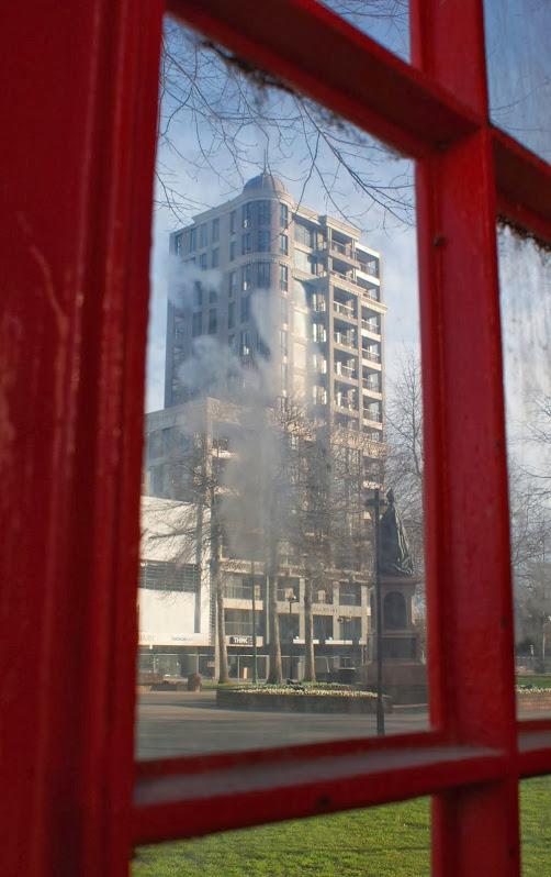 From a phonebox: Victoria Apartments, Christchurch