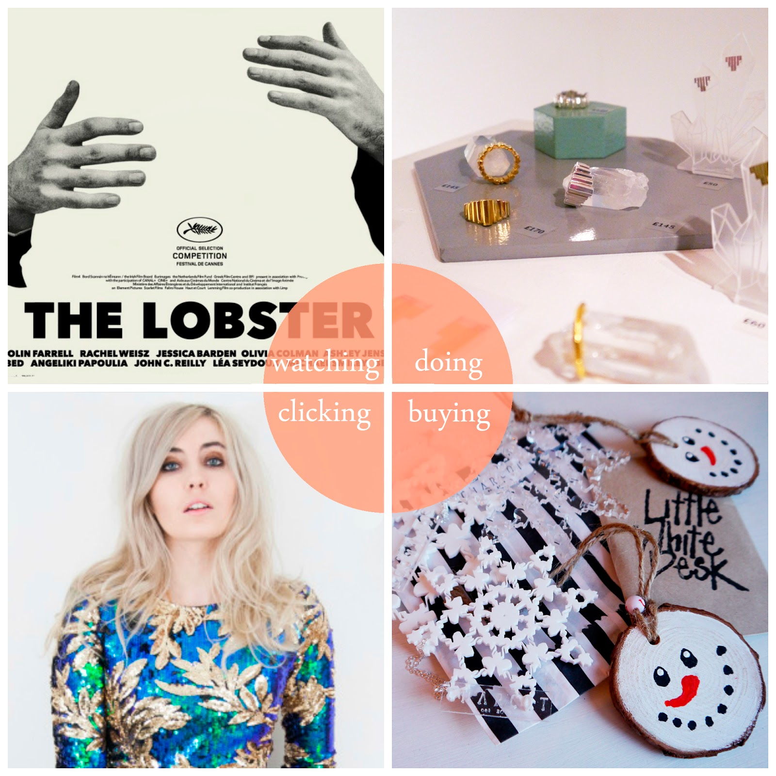 Round Up, best bits, highlights, November 2015, The Lobster, film of the month, Filipa Oliveira, jewellery, Little Lies, online shop, onlone shopping, Christmas decorations, tree decorations, Charcot