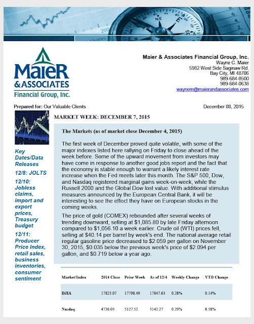 December 7, 2015 Weekly Market Review from Maier & Associates Financial Group