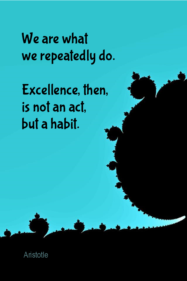 visual quote - image quotation for HABITS - We are what we repeatedly do. Excellence, then, is not an act, but a habit. - Aristotle