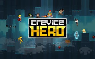 Screenshots of the Crevice hero for Android tablet, phone.