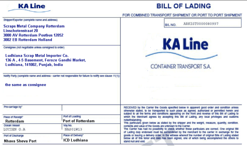 Delivery places on a multimodal bill of lading – Sample of Bill of Lading Document
