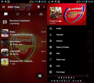 BBM Mod Tampilan Klub Bola Arsenal FC