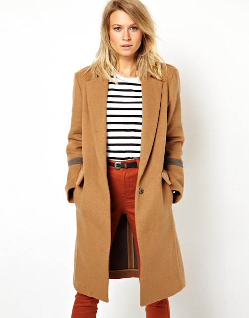 camel coat with arm detail