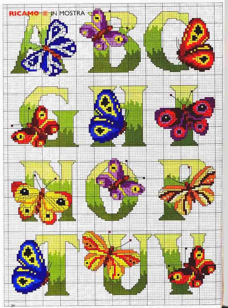 Hobby lavori femminili ricamo uncinetto maglia for Farfalle punto a croce