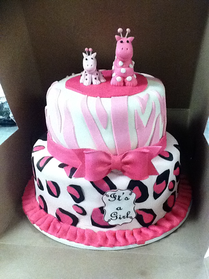 pink safari baby shower cake hector 39 s custom cakes