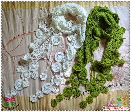 Estola al crochet con motivos circulares y florales