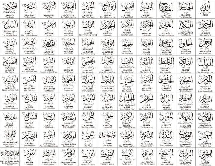 99 Beutiful Names of Allah swt :