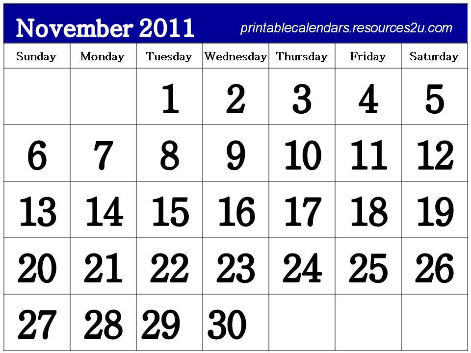 November 2011 Calendar Printable Free