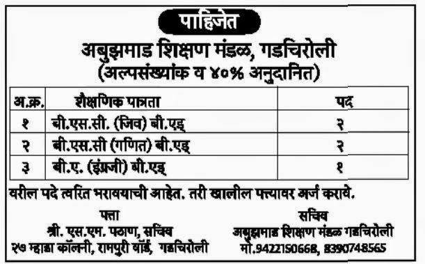 Teacher Required at Abuzamad Shikshan Mandal, Gadchiroli in Sept. 2014