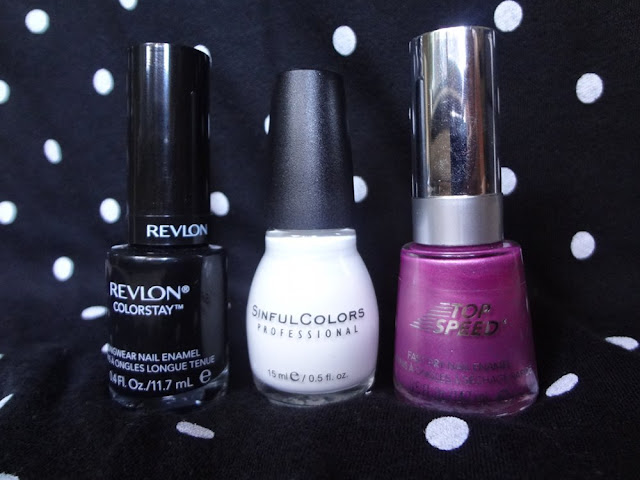 stiletto by revlon, orchid by revlon, snow me white by sinful colors