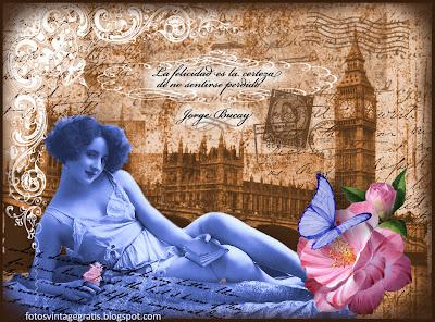collage vintage con dama antigua en azul y Londres al fondo