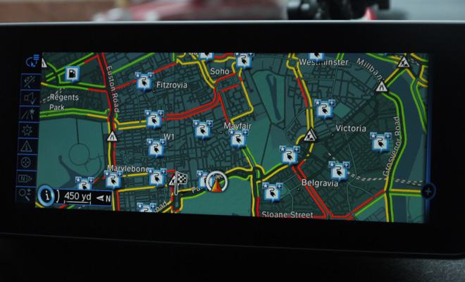 BMW i3 satnav showing charging locations