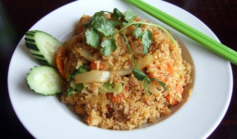Curried Fried Rice with Pineapple and Fried Tofu