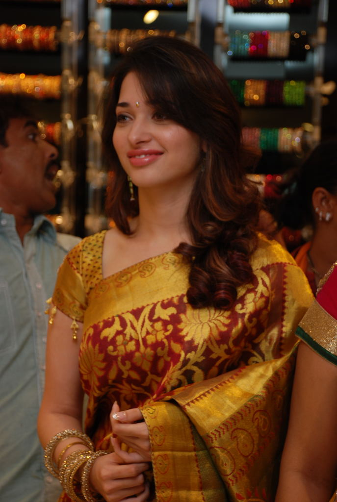 Beautiful Tamanna in Golden Saree at Womens World Launch