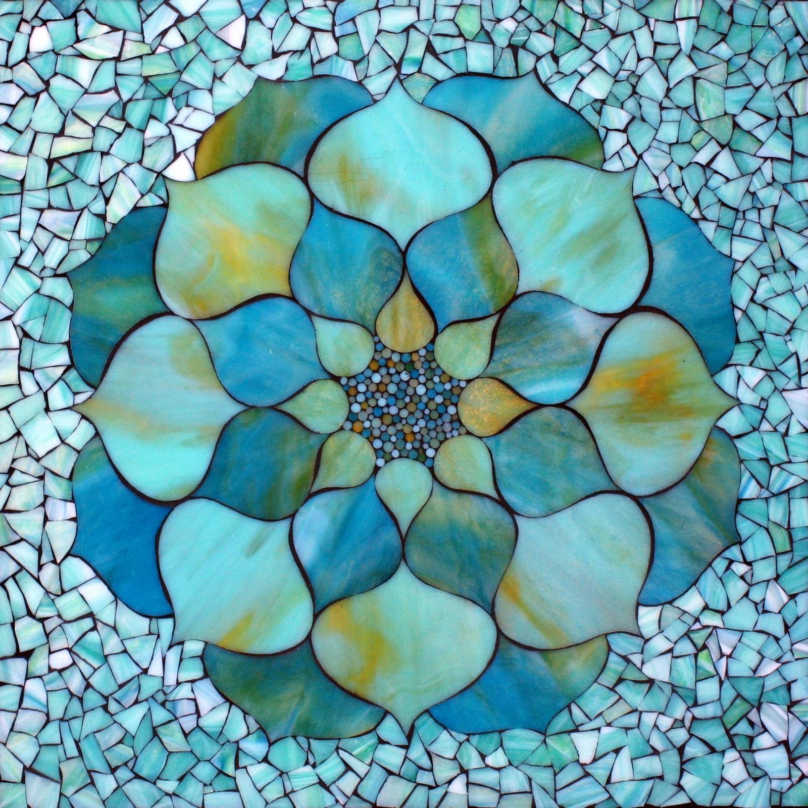 Kasia Mosaics Turquoise Lotus Flower