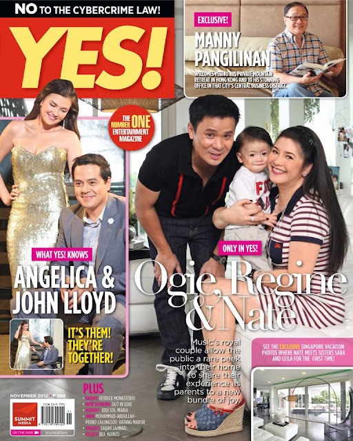 Angelica Panganiban and John Lloyd Cruz Plus Ogie, Regine and Baby Nate Alcasid Cover YES! Magazine November 2012 Issue