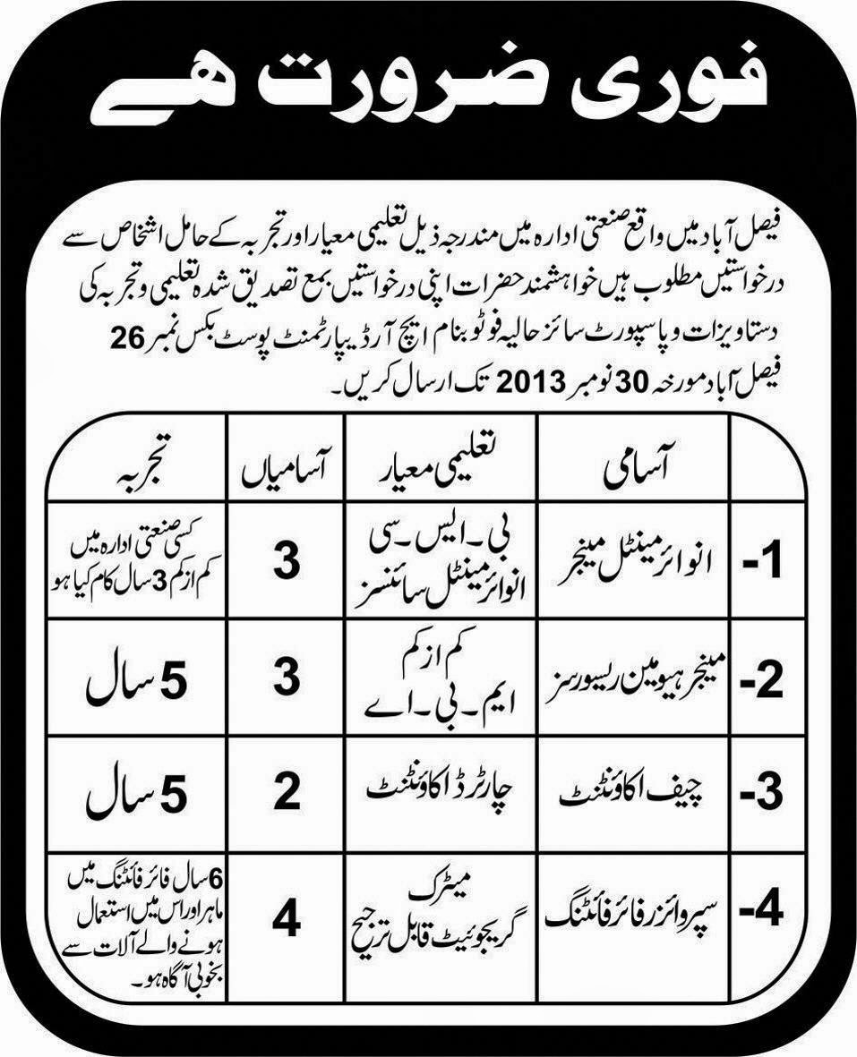 Accountant and Manager Jobs In Faisalabad