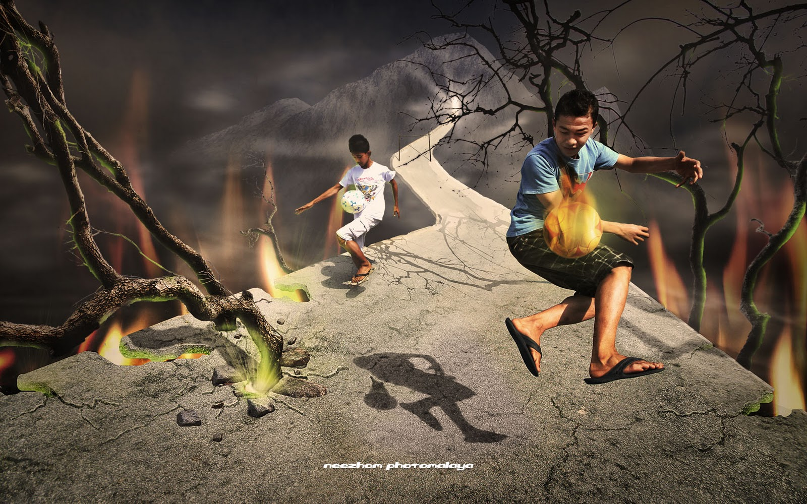 photo manipulation soccer playing