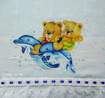pintura em tecido fralda com golfinhos e ursos