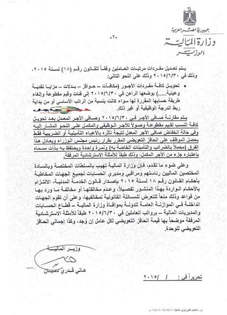وزارة المالية - منح حافز تعويضى لموظفى الدولة وطريقة حساب مرتبات يوليو 2015