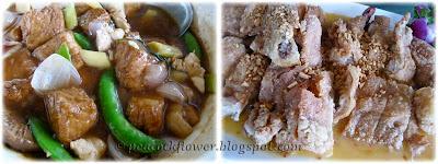 Seafood tofu claypot-style, batter-fried boneless chicken with lemon sauce