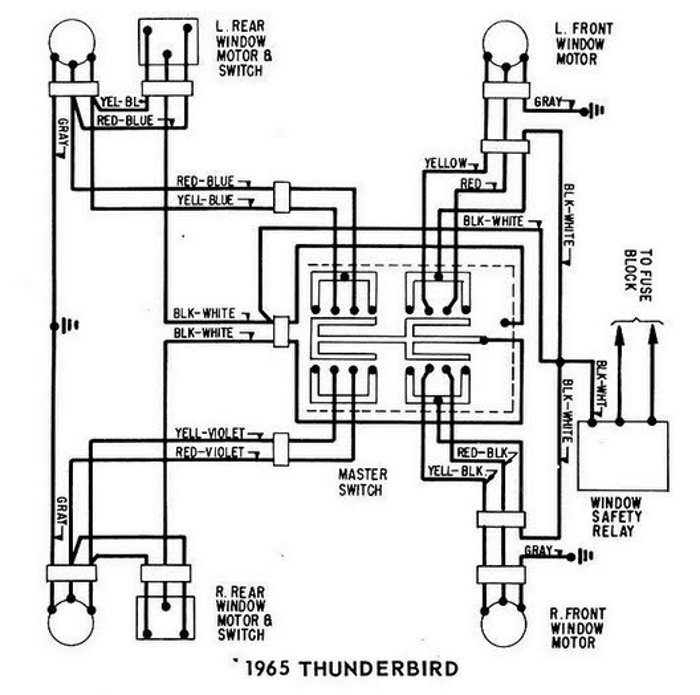Windows+Wiring+Diagram+For+1965+Ford+Thunderbird 1967 thunderbird turn signal diagram wiring schematic on 1967 Cub Cadet 100 at bayanpartner.co