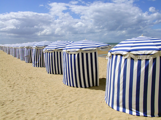 Sunshades at the beach at Cabourg plage