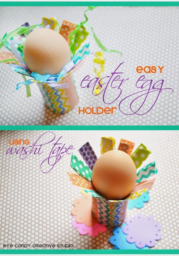 easy easter egg holder, washi tape decor, toilet paper roll craft, easter craft