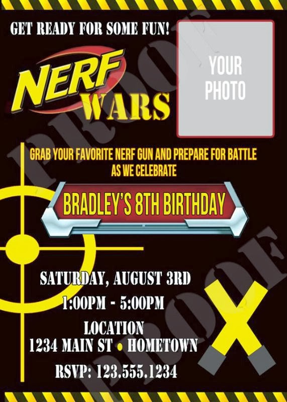 Giggle Bean Nerf War Party – Nerf Gun Birthday Party Invitations