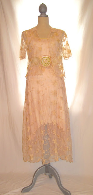 Vintage Inspired Hand-Dyed Engagement Wedding Lace Dress with Bolero