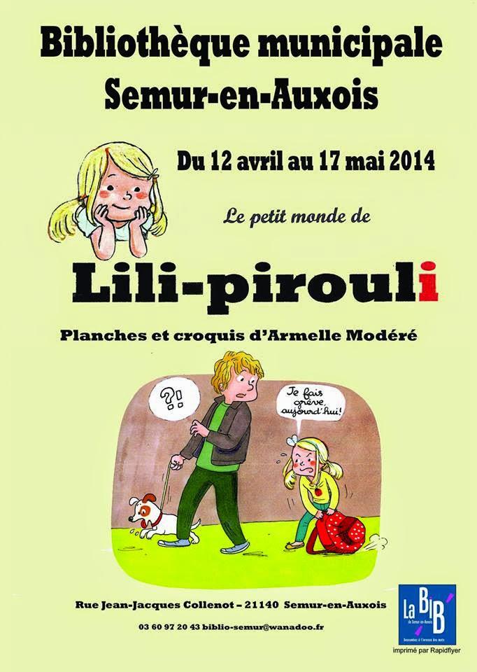 Exposition des planches de Lili Pirouli à la bibliothèque de Semur en Auxois : du 12 avril au 17 mai 2014 (affiche)
