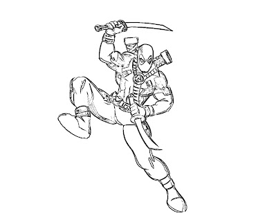 #8 Deadpool Coloring Page