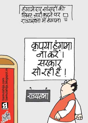 rajyasabha, parliament, congress cartoon, bjp cartoon, indian political cartoon