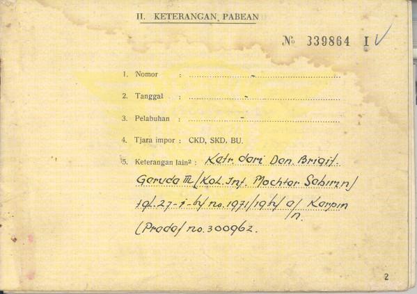 Pada BPKB tercantum tulisan ex Brigade Garuda III. title=