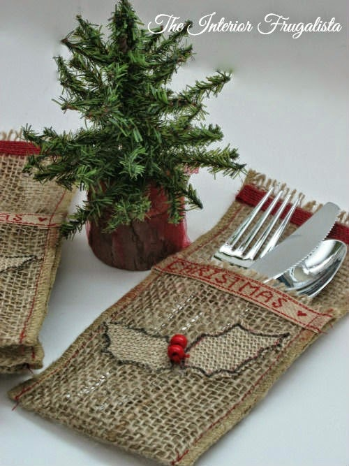 DIY natural burlap, holiday ribbon, holly flatware pouches View 2