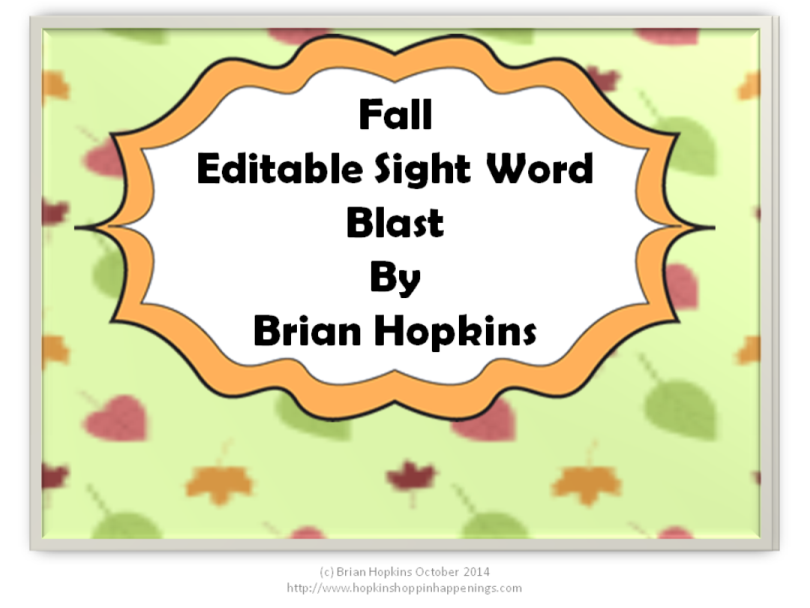 Fall Editable Sight Word Blast Game with a Twist