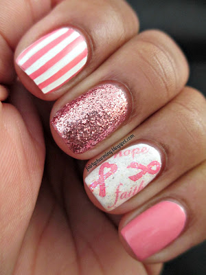 Joby Nail Art, Think Pink Promotion, pink, stripes, glitter, nail decals, Revlon Temptress, Daisy Nail Lacquer Ja-Make-Can-Me-Crazy, breat cancer awareness, Susan G Komen, Save the Tata's