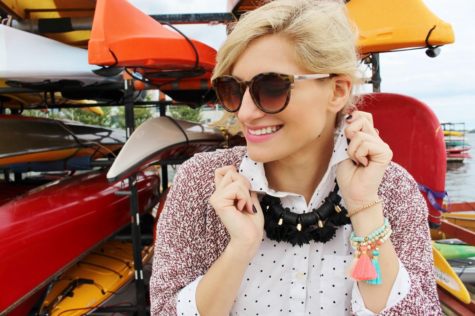 bijuleni-oversized cardigan and tassel bracelets