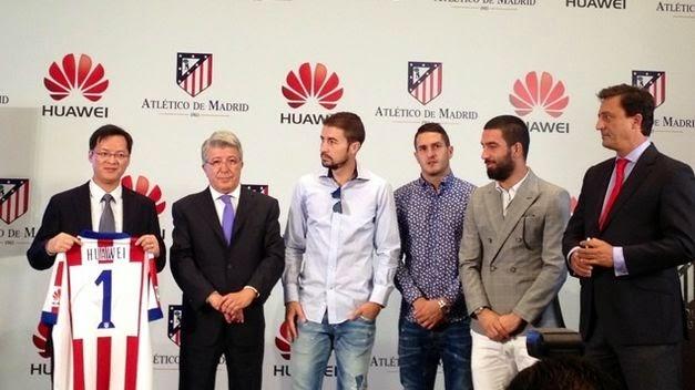 Acto de presentación del acuerdo entre Huawei y el Atlético de Madrid